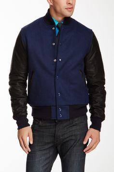Slater & Son Royal Blue Wool Blend Leather Sleeve Varsity Jacket on HauteLook