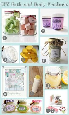 Lots of DIY bath and body products-- these would make great gifts for Mother's Day!!