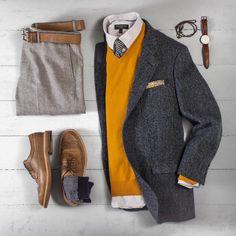 "Matt Graber on Instagram: ""Went crazy with the herringbone today. #grabergrid Pants: @jcrew Bowery Belt: @rancourtco Natural CXL Blazer: @jcrew x @harristweedauthority Sweater: @jcrew Shirt: @bananarepublic Tie: Wallace & Barnes x @jcrew Pocket Square: @getdeclan Bracelet: @maritimesupplyco Watch: @danielwellington Shoes: Alden Longwing Natural CXL x @leffot Socks: @anonymous_ism"""