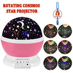 Night Lighting, 3 Modes Rotating Star Light Projector 4LED Romantic Night Lamp Projection, Cosmos Star Sky Moon Lamp Projector for Kids Baby Bedroom, Christmas Gifts BY Noza Tec (Pink) -- See this great product.