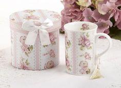 Gift Boxed Porcelain Mug with Tassle - Vintage Lace