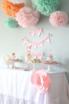 Maggie Collection- 5 Pom Poms- baby girl shower hanging decorations/ wedding shower/ getaway car decoration/ vintage party decorations. $20.00, via Etsy.