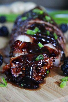 Recipe For Blackberry Hoisin Ginger Pork Tenderloin - I can attest this pork is melt in your mouth tender! They don't call it pork tenderloin for nothing! Recipes With Hoisin Sauce, Pork Recipes, Cooking Recipes, Asian Recipes, Ginger Pork, Ginger Sauce, Pork Tenderloin Recipes, Pork Roast, Hoisin Chicken
