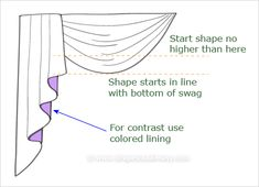 Illustration showing cascade and swag proportion details Doll House Curtains, Swag Curtains, Curtains And Draperies, No Sew Curtains, How To Make Curtains, Rod Pocket Curtains, Paisley Curtains, Curtain Styles, Curtain Designs