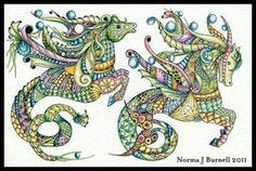 """Seahorses"" par Norma Burnell"