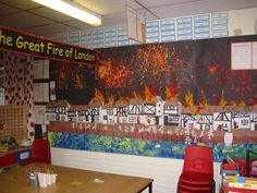 Great Fire of London Teaching Displays, School Displays, Classroom Displays, London Plays, Walks In London, The Fire Of London, Role Play Areas, The Great Fire, Classroom Projects
