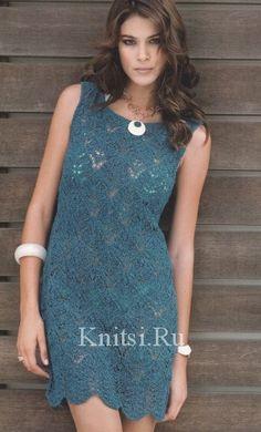 Синее платье с ажурными фестонами