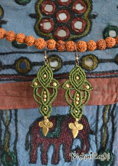 Macrame earrings Lotus Rising with tribal by MahakashiCreations