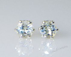 Sparkling!! 4mm Genuine Clear / White Topaz Round Sterling Silver Earrings  #ErikasDelights #Stud