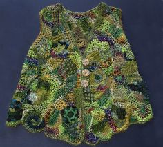 lacy freeform knit and crochet waistcoat