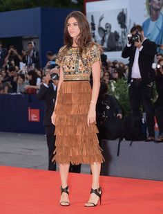 Elisa Sednaoui in Burberry. LOVE the mirror and polka dot embellished top.
