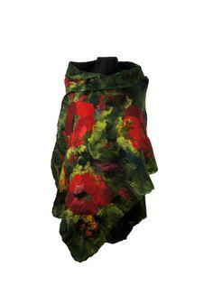 nuno felted silk scarf felted  shawl green red black by Feltmondo