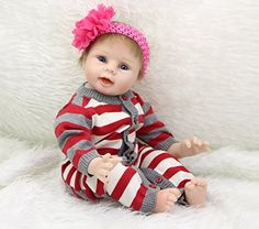 22 inch Silicone Reborn Babies Doll Girls Vinyl Realistic Newborn Dolls Kids Birthday Gift Free Magnet Pacifier Dummy ** You can get additional details at the image link.