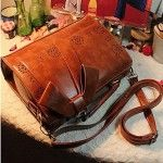 Vintage Bow Decor Hollow Hem Satchel/Crossbody Bag