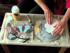 How to Decoupage a Glass Plate - YouTube