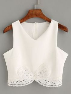 Top encaje crop tank -blanco