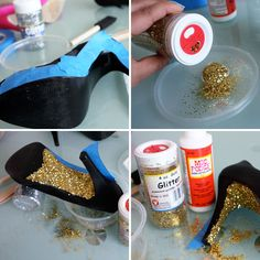 DIY - glitter heels! Perfect for Prom or New Year's Eve!   Materials:  - Mod Podge Gloss or Elmer's clear glue  - gold glitter  - foam brush  - painter's tape  - a pair of old pumps