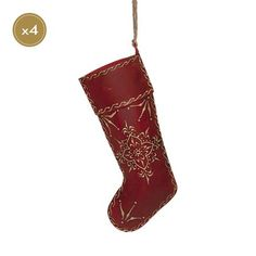 London Ornaments Metal Christmas Stocking Decoration, Red set of 4