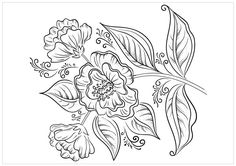 Flowers with Leaves Coloring Page - Buzzle.com Printable Templates