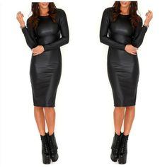 2016 PU leather sexy nightclub sexy tight long-sleeved dress sense