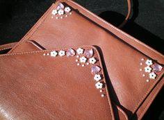 Brown leather handbag crystal embellished bag heart handbag
