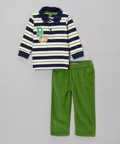 Navy Stripe 'B' Polo & Green Pants - Infant