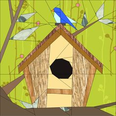 Birdhouse BoM March Paper Piecing Patterns quiltartdesigns.blogspot.com