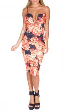 Black Red Floral Print Plunging Midi Dress
