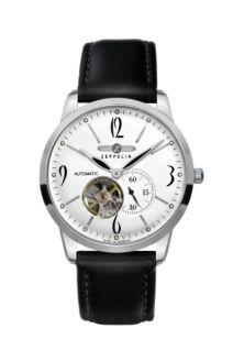 Graf Zeppelin Flatline open-heart watch lets you see the Miyota automatic movement whirring away every time you look at your watch. Includes a mineral exhibition caseback. Zeppelin Watch, Mens Dress Watches, Dream Watches, Watch Companies, Telling Time, Stitching Leather, Automatic Watch, Costume, Beautiful