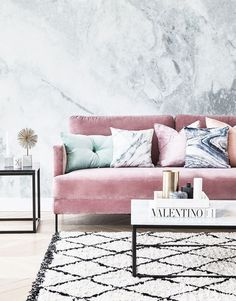 Marble and blush glam living room.