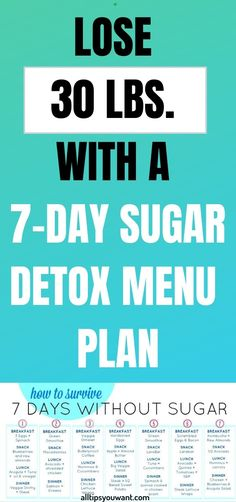 WITH A SUGAR DETOX MENU PLAN If we are being honest, then it is the time that you need a sugar detox. We all know the dangerous effects that it can have for our health. Therefore, it is best that from time to time you rest your body from 7 Day Sugar Detox, Sugar Detox Diet, Detox From Sugar, Dietas Detox, Detox Diet Plan, 10 Day Detox Diet, Detox Diet For Weight Loss, Detox Meals, Fat Loss Diet