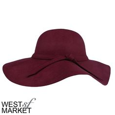 -SALE-  Floppy Wool Hat Burgundy hat with floppy wide rim. Accent tie around the center. PLEASE COMMENT TO BUY THIS LISTING, I will make a separate listing for you. We cannot accept discounted offers on items marked RETAIL! West Market SF Accessories Hats