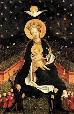 Unknown artist, German (active 1450s in Cologne). Madonna on a Crescent Moon in Hortus Conclusus.