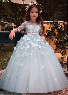 Buy discount Unique Tulle Bateau Neckline Half Sleeves Ball Gown Flower Girl Dresses With Belt & Bowknot & Beaded Handmade Flowers at Dressilyme.com
