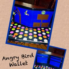 Duct Tape angry bird wallet.  Check us out and purchase at www.facebook.com/BranigansDuctTapeCreations.