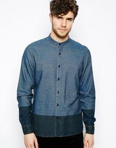 Image 1 ofASOS Grandad Shirt In Long Sleeve With Contrast Panel