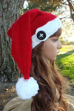 b836e650cfe72 DIY- Knitting PATTERN  84  Ho Ho Ho Button Cable Band Santa Knit Hat with  Pom- pom
