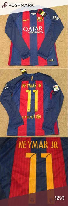 Neymar Jr Barcelona Soccer Jersey Long Sleeve 2016 Brand new with tags NEYMAR JR #11 Barcelona Soccer Jersey 2016/2017 champions league patches. Color is red and blue home short sleeve jersey. LIONEL MESSI #10 also available. Fast shipping! I sell other jerseys as well. BARCA - FCB , Futbol top . Tags: euro 2016 , champions league , la liga , bundesliga , EPL , English premier league , soccer ball , Cleats Shirts Tees - Long Sleeve