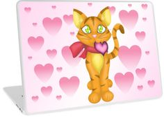 Lovely Kitty Laptop Skin #kittens #cats #hearts #valentine #pink