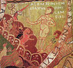 「動物の名づけ」《天地創造の刺繍布》部分 11世紀末~12世紀初め 羊毛地に毛糸で刺繍 ジローナ大聖堂宝物館蔵