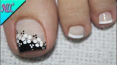 ♥DISEÑO DE UÑAS PARA PIES FLOR BLANCO Y NEGRO ¡MUY FÁCIL! - FLOWERS NAIL... Toenail Art Designs, Pedicure Designs, Pedicure Nail Art, French Pedicure, Pretty Toe Nails, Cute Toe Nails, My Nails, Toe Nail Color, Toe Nail Art
