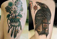 Hand and Bird Tattoo by Aron Dubois