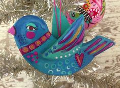 Hand Painted Bird Ornament Holiday Decor on Etsy, $22.00