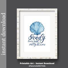Beach Printable, Sandy Toes, Salty Kisses, beach decor, lake house, cabin decor, sea shell art, beach wall art, nautical art, beach wedding by Parachute425Prints on Etsy