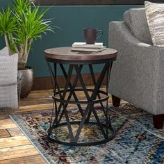 Williston Forge | Wayfair.ca End Tables With Storage, Coffee Table With Storage, Barrel Table, Dark Furniture, Furniture Ideas, Etagere Bookcase, Wood Crosses, Steel Wall, Wood Bridge