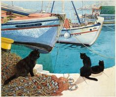 Cat on the beach painting. Cats on the beach