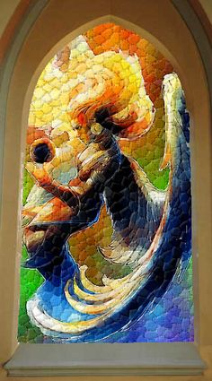 Newer of the Stained Glass Windows in the Church of Sarenrae in Wrentham - See this image on Photobucket.