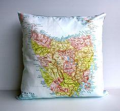 vintage map cushion of TASMANIA 16 inch 41cm by mybeardedpigeon, $55.00