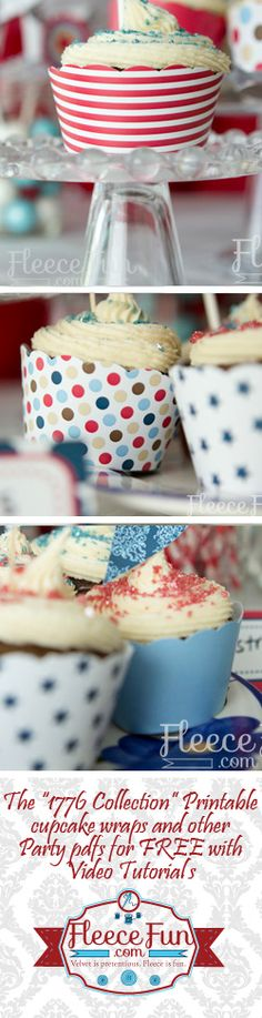 Free printable 4th of July cupcake wraps from Fleecefun.com!  Part of the 1776 collection Fleece Fun is giving away for FREE!  Love this!