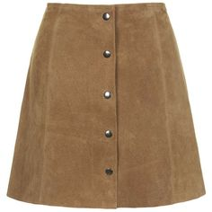 Camel Suede Button Front Mini Skirt ($30) ❤ liked on Polyvore featuring skirts, mini skirts, bottoms, mini skirt, suede skirt, short brown skirt, button front mini skirt and short skirts